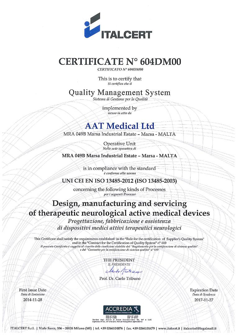 Certificato FDA sul sistema MENTE